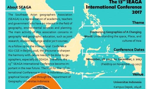Pertemuan Ilmiah Geografi se Asia Tenggara (SEAGA) ke-13 akan diselenggarakan di Indonesia