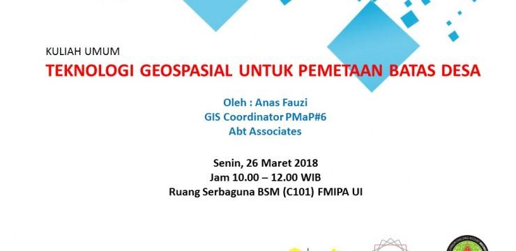 """Kuliah Umum Dr. Anas Fauzi """"Teknologi Geospasial untuk Pemetaan Desa"""""""